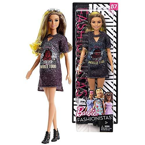 Year 2017 Fashionista Series 12 Inch Doll Set #87 - Hispanic Model FJF47 in Los Angeles 1959 World Tour Rockstar Glam Dress with -