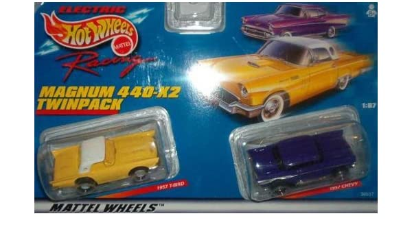 Mattel ~ Tyco 440-X2  Slot Car 1957 T-Bird and 1957 Chevy Twin Pack ~ 1999