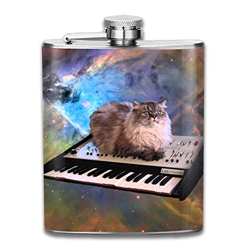 Bacchus-G Space Cat Keyboard Unisex Hip Flask For Liquor Stainless Steel Bottle Alcohol 7oz