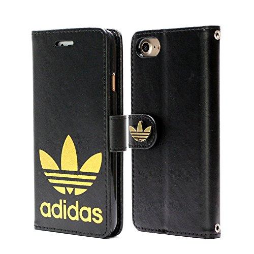小学生うれしいシェフ手帳型 adidas アディダス iPhone7 iPhone8 (4.7inch) ブラック 金ロゴ レザーケース スマホケース ケータイカバー