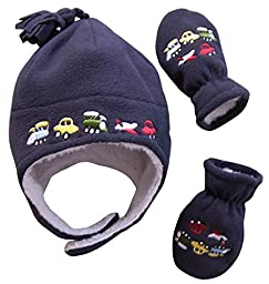N\'Ice Caps Boys Sherpa Lined Micro Fleece Embroidered Hat and Mitten Set (6-18 months, Infant - Charcoal)