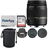 Sigma 18-250mm F3.5-6.3 DC Macro OS HSM for Nikon F Mount + 64GB Memory Card + Soft 6 inch Lens Pouch + Photo4Less Cleaning Cloth - Top Value Basic DSLR Lens Accessory Bundle