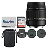Sigma 18-250mm F3.5-6.3 DC Macro OS HSM for Canon EF Mount + 64GB Memory Card + Soft Lens Pouch + Photo4Lens Cleaning Cloth – Top Value Basic Lens Accessory Bundle!