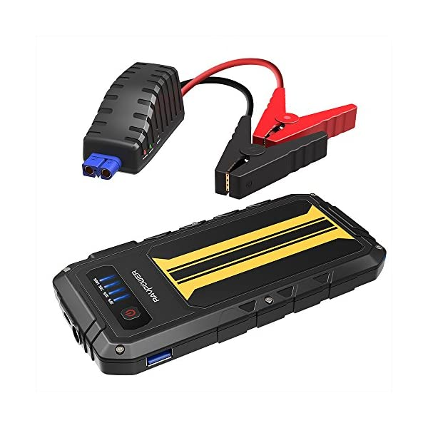 Car Jump Starter RAVPower 300A Peak Current (for All 12V 2.0 L Gas Engines) Quick Charge Portable Jumper External Battery Pack Power Bank Power Pack 8000mAh Car Battery Booster, Built In Flashlight