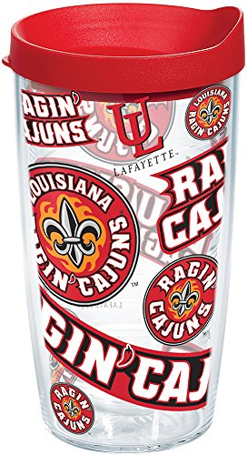 Tervis 1252267 Louisiana Lafayette Ragin' Cajuns All Over Insulated Tumbler with Wrap and Red Lid 16oz Clear ()