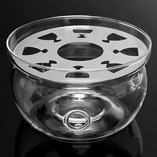 Heat-Resisting Teapot Warmer Base Clear Borosilicate Glass Round Shape Insulation Tealight Portable Teapot Holder - Transparent