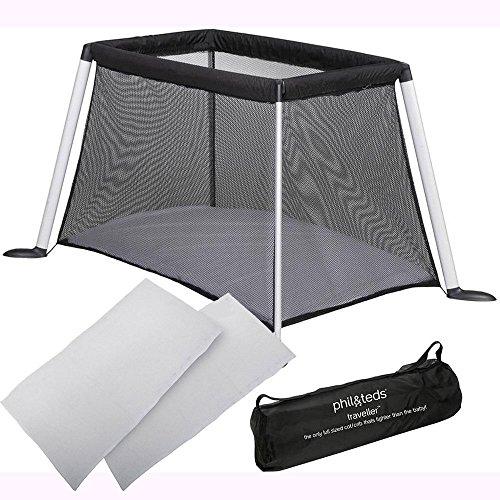 Teds Travel Cot (Phil & Teds Traveller V4 Crib - Black with Sheet Set)