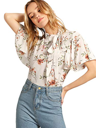 (SheIn Women's Casual Side Bow Tie Neck Short Sleeve Blouse Shirt Top X-Large Floral White)