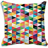 "meSleep Geometrical Satin Cushion Cover - 16""x16"", Multicolour"