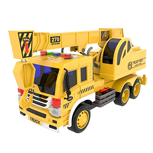 FUN LITTLE TOYS Crane Truck Construction Vehicles Friction Powered 1:16 Simulation Truck with Light and Sound, 6 Wheels and a Rotatable and Extensible Hook, Yellow