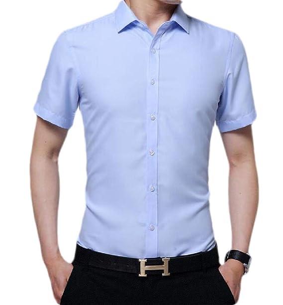 YYG Men Business Long Sleeve Button Down Summer Print Dress Shirts