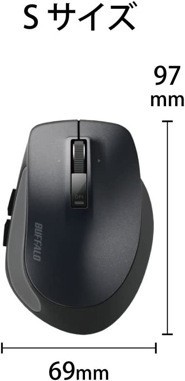 BUFFALO Bluetooth BlueLED Premium fit Mouse S Size Black BSMBB505SBK