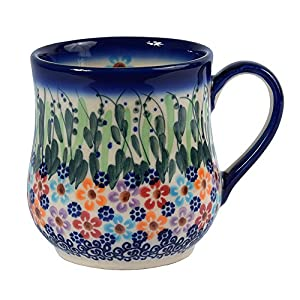 Traditional Polish Pottery, Handcrafted Ceramic Drop-shaped Mug (350 ml /12.3 fl oz), Boleslawiec Style Pattern, Q.102.DAISY