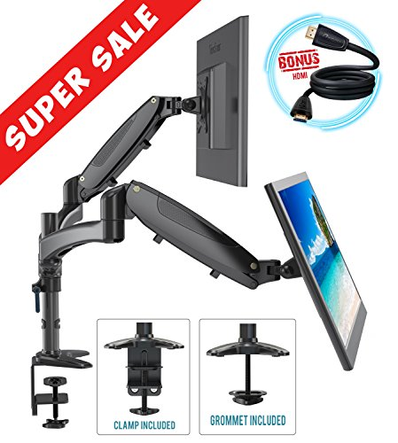 Dual Monitor Mount Arm Stand Height Adjustable Black Desk Full Motion Free Standing Computer Riser Gas Spring C Clamp & Grommet Cable Management 15 to 27 Inches For Two LCD Display Screens BONUS HDMI