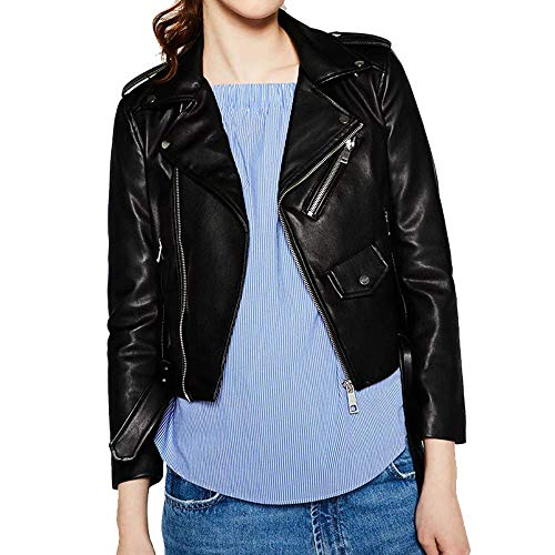 Women's Trendy Stand Collar PU Leather Moto Jacket Leather Coat