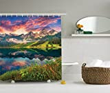 Orange Shower Curtain Ambesonne Cottage Decor Collection, Colorful Summer Sunrise on the Vorderer Gosausee Lake in the Austrian Alp Mountains Picture, Polyester Fabric Bathroom Shower Curtain, Ivory Green Orange