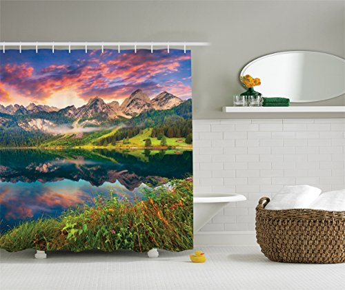 Ambesonne Cottage Decor Collection, Colorful Summer Sunrise on the Vorderer Gosausee Lake (Cottage Style Decor)