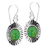 925 Oxidized Sterling Silver Green Turquoise Stone Oval Simple Statement Dangle Earrings