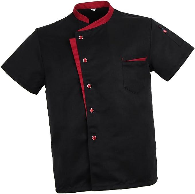 Baoblaze Camisa Mezclilla Unisex Chef Chaqueta Arrugas Resistente Confortable Mangas Cortas Camiseta Cocina Uniforme Emocionante: Amazon.es: Ropa y accesorios