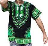 RaanPahMuang Brand Unisex Bright Black Cotton Africa Dashiki Shirt Plain Front, Small, Black with Green