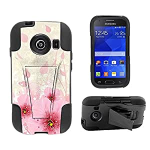 Beyond Cell ?Samsung Galaxy Ace Style S765C (Straight talk,Net 10,TracFone,Cricket,International)Premium Protection Slim Armor Hyber Tough Rugged High Impact Hybrid Phone Case With Built In Kickstand - Flower Bloom Design - Retail Packaging