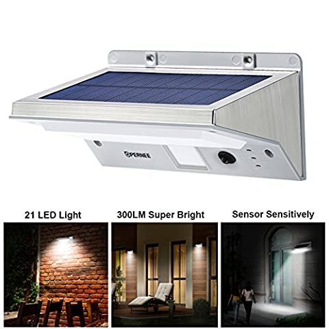 Solar Wall Lights, OPERNEE 21 LED Bright Outdoor Solar Lights Stainless Steel 3 Mode Motion Sensor Wireless Security Flood Light for Garage Pool Patio Yard Driveway (Stair Wedge)