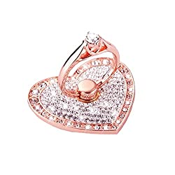 Universal Phone Ring Stand Holder UCLL Romantic Heart Crystal Finger Grip 360 Degree Rotating Ring Grip Cell Phone and Tablets Anti Drop Ring for iPhone iPad Samsung LG HUAWEI SONY (Rose gold -white)