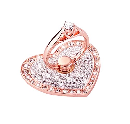 Universal Phone Ring Stand Holder UCLL Romantic Heart Crystal Finger Grip 360...