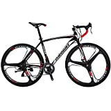 Extrbici Road Bicycle Racing Bike 3 Spoke Wheel 21 Speeds,XC550 700Cx28C 54 cm Solid Integrated Wheel Curved Handlebar Double Disc Brakes Cycling US Warehouse (White)