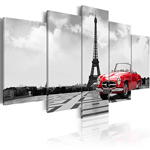 murando - Cuadro en Lienzo 200x100 - Impresion de 5 Piezas Material Tejido no Tejido Impresion Artistica Imagen Grafica Decoracion de Pared Paris Coche 030106-11