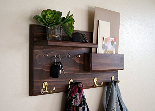 Coat Rack Mail Storage Key Hooks Entryway Organizer Walnut Finish by Midnight Woodworks