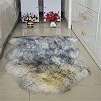 Sheepskin Area Rugs, One Pelt Natural Fur Wool Carpet Sheep Skin Rug Floor Mat Seat Cover Wool Chair Pad Bedroom Bedside Carpet Livingroom Sofa Mat Home Decor, 80x120cm, White Gray