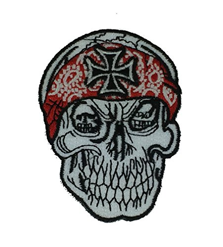 SKULL WITH IRON CROSS AND BANDANA PATCH - White/Red/Black - Veteran Owned Business