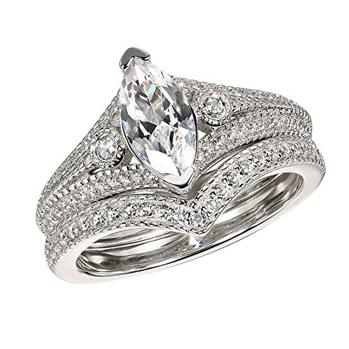 925 Sterling Silver 3.00 Ct Marquise & Round Cut Simulated Diamond Three Stone Bridal Set Engagement Ring 5
