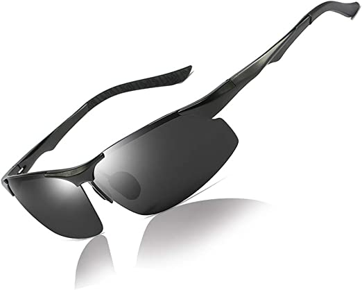 polarized Mens sunglasses aluminum magnesium frame car driving sunglasses men sports Black grey