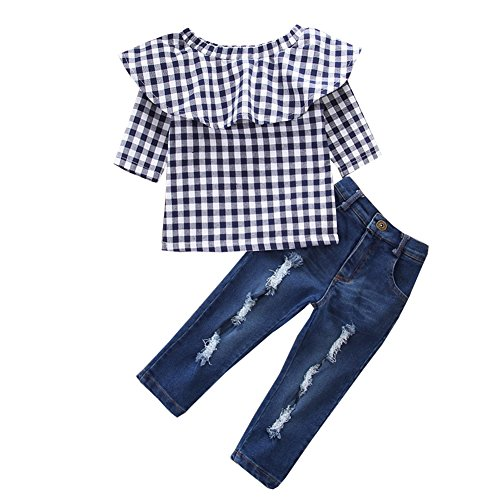 Scfcloth Kids Clothes Girls Lotus Leaf Collar Long Sleeve Tops + Long Jeans Clothing Set Outfits (Plaid, 5-6 Years) by Scfcloth