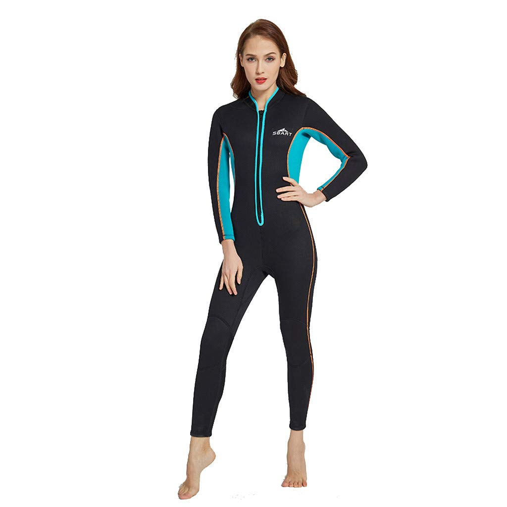 Pandaie Women's Wetsuit Full 3mm One Piece Swimsuit Long Sleeve Surfing Diving Suit Sun Protection