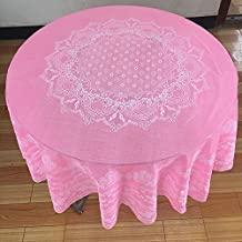 ZnzbztThick waterproof large round-table cloth home hotel waterproof oil resistant iron resting against money-round-table cloth PVC plastic round table drape, 133 Pink, tablecloths size 130cm Diameter Circle