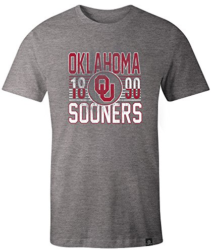 Image One NCAA Oklahoma Sooners Adult Unisex NCAA Retro Stacked Everyday Short sleeve T-Shirt, - Image Gray
