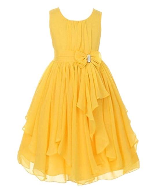 Vestido De Falda De Volantes Irregulares Vestido De Gasa Sin Mangas Para Las Niñas Fiesta Del
