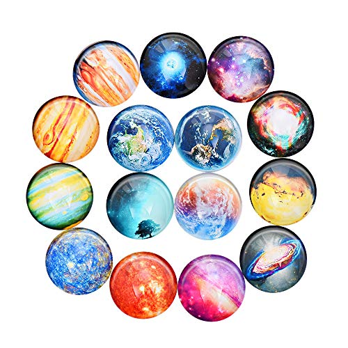 15Pcs Starry Sky Refrigerator Magnets - Heavy Duty Magnets with Planetary Pattern Perfect for Holding Paper, Photo, Calendar, Card on Refrigerator, Whiteboard, Crystal Glass