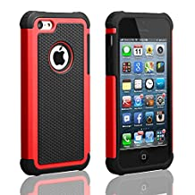 iPhone 5C Case,AUMIAU Hybrid Dual Layer Shock Absorbin Armor Defender Protective Case Cover (Hard Plastic with Soft Silicon) for Apple iPhone 5C(Red)