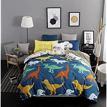 Sandyshow 3PC Dinosaur Bedding For Boys And Girls Full/Queen Microfiber  Duvet Cover Set (