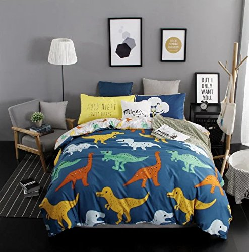 Sandyshow 2PC Dinosaur Bedding For Kids Twin Duvet Cover Set(No Comforter Inside) Full/Queen Size Optional (Twin (Dinosaur)) - Dinosaur Twin Comforter