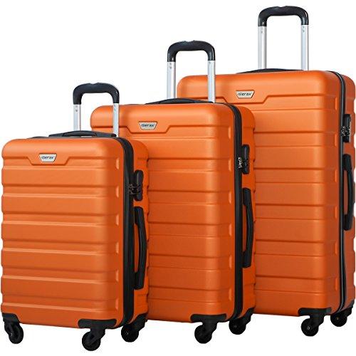 Merax Luggage Set 3 Piece Lightweight Spinner Suitcase (Orange) by Merax (Image #1)