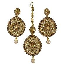 Banithani Wedding Goldtone CZ Tikka Earring set Indain Women Traditional Designer Jewelry