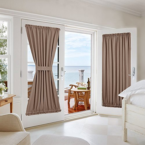 NICETOWN Blackout Panel for French Door - Privacy Blackout Curtain for Glass Door/ French Door With Adjustable Tie-Back (1 Piece, W54 x L72-Inch, Cappuccino) (Patio Door Single)