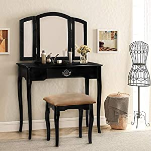 Harper & Bright Designs Vanity Set Make-up Dressing Table with Mirror and Cushioned Stool