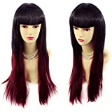 Wiwigs ® Gorgeous Long Layered Black Red mix Straight Ladies Wig Skin Top Hair