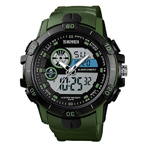 TIDOO Plastic Strap Bangle Quartz Luminous Watch for Men Green Black Waterproof Watch for Boys